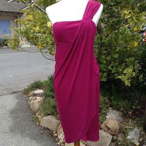 Newport News Burgundy Pink Draped Midi Dress